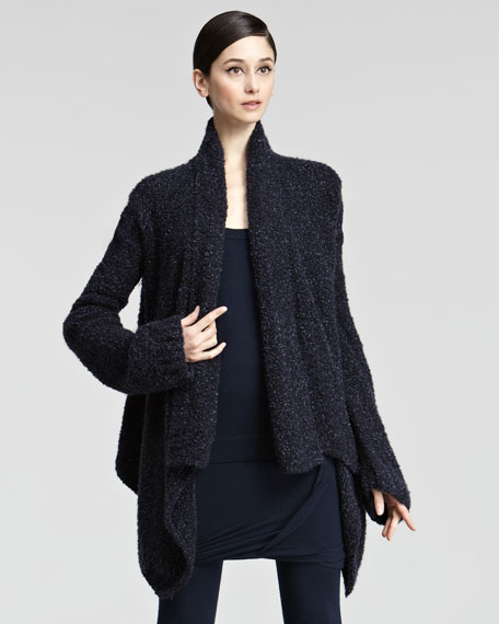 Cashmere Boucle Knit Cardigan, Ink