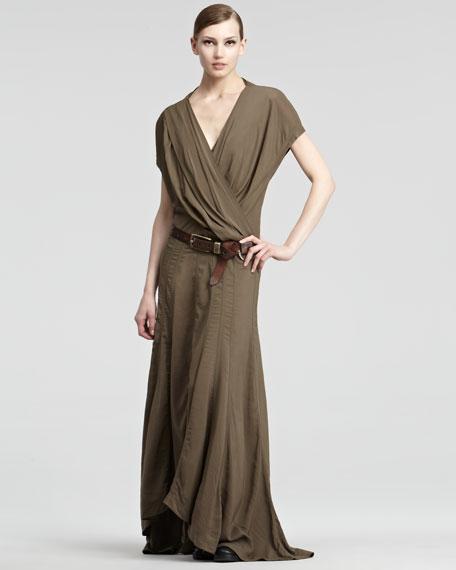 Short-Sleeve Draped V-Neck Maxi Dress