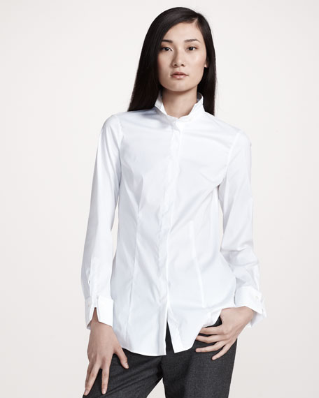 Canvas-Detail Poplin Shirt