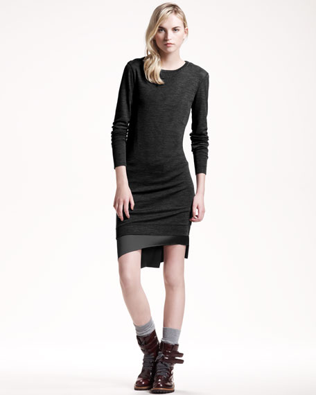 Silk-Underlay Jersey Dress