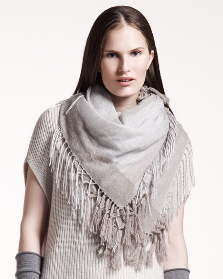 Two-Tone Fringed Scarf, Taupe/Light Gray