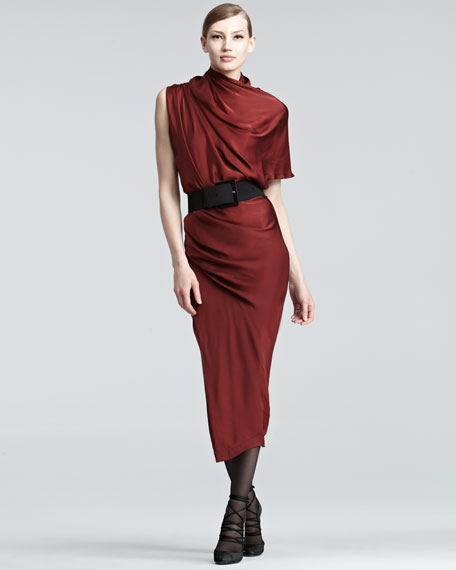Draped Satin Midi Dress
