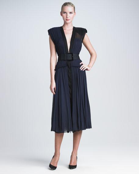 Pleated Silk Dress