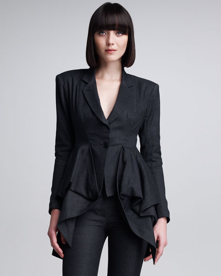 Two-Button Jacket With Exaggerated Peplum