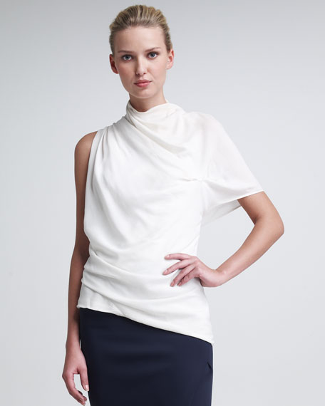 Asymmetric Sculptural Crepe Blouse