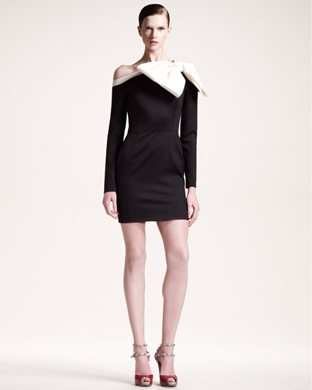 Bow-Shoulder Long-Sleeve Dress