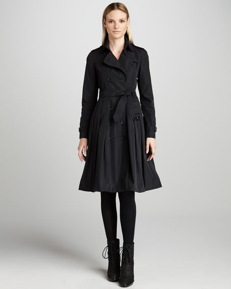 Pleated Tech-Taffeta Trenchcoat