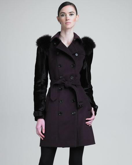 Fur-Sleeve Trenchcoat