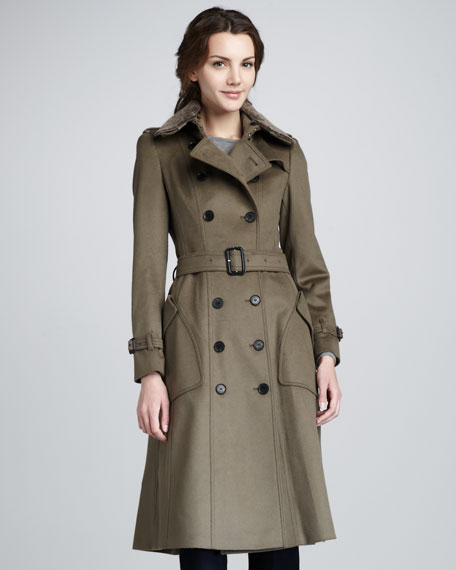 Shearling-Collar Wool-Cashmere Coat