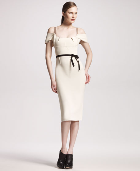 Herbert Stretch-Crepe Dress, Winter White