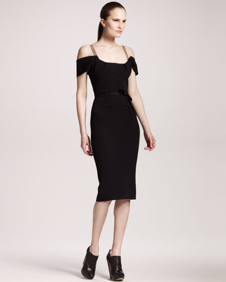 Herbert Stretch-Crepe Dress, Black
