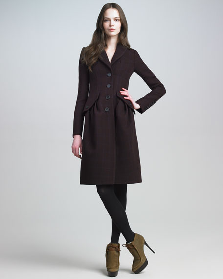 Single-Breasted Check Coat