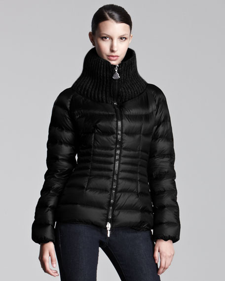 Ribbed-Collar Short Puffer Jacket