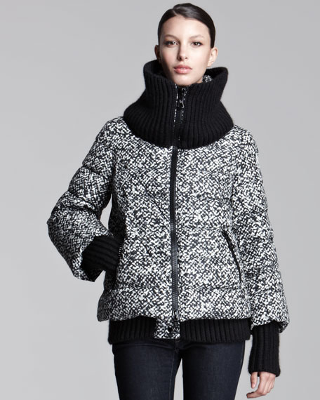Tweed-Print Puffer Jacket