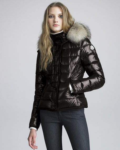 Short Coyote-Trim Lacquered Puffer Coat