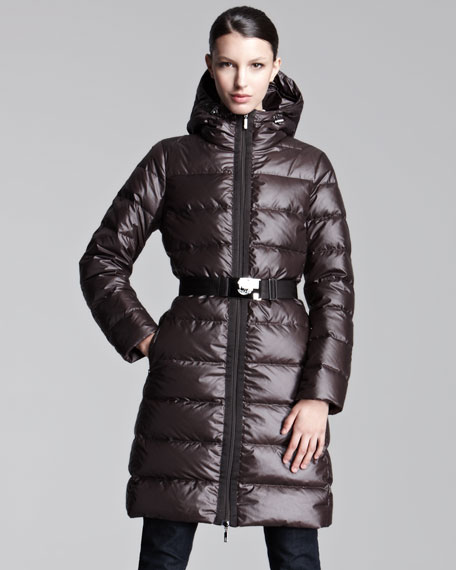 Mid-Length Lacquered Puffer Coat