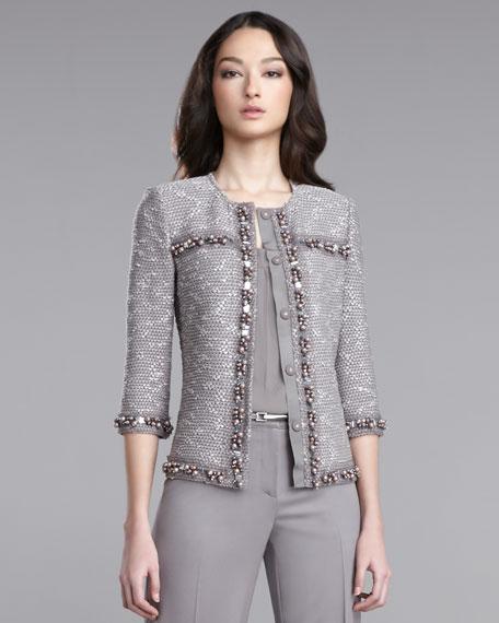 Pickstitch Tweed-Knit Jacket