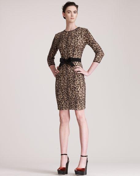 Belted Leopard-Print Dress
