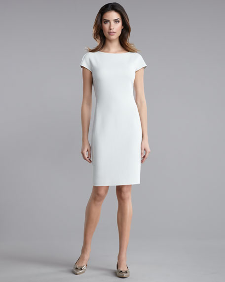 Double-Faced Crepe Cap-Sleeve Dress