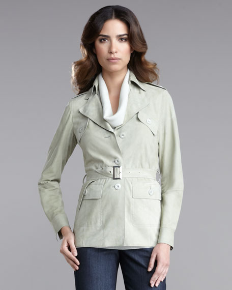 Luxe Suede Belted Shirt Jacket