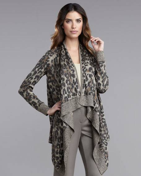 Animal-Print Jacquard Cardigan
