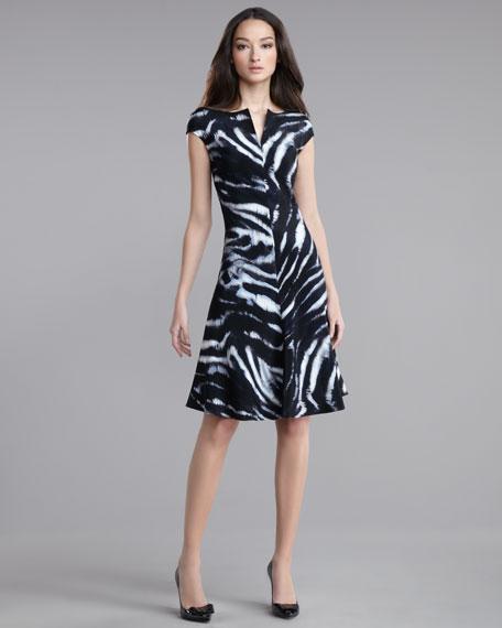 Zebra-Print Flared Dress