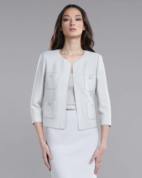 Basketweave Tweed Boxy Jacket