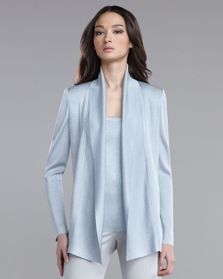 Shimmer Knit Shawl-Collar Cardigan