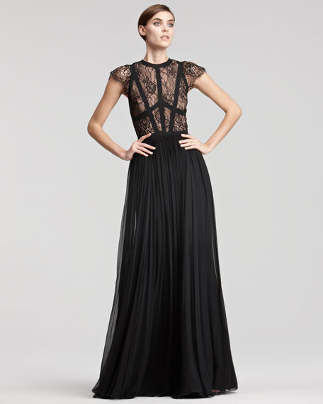 Cap-Sleeve Lace-Bodice Gown