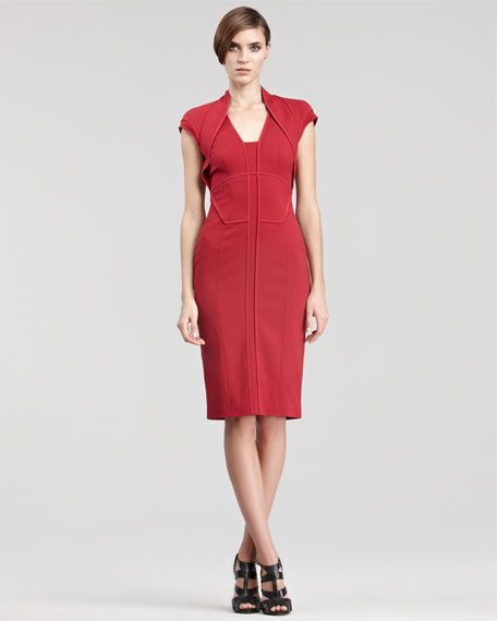 Folded Cap-Sleeve Dress