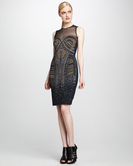 Pin-Embroidered Sheath Dress