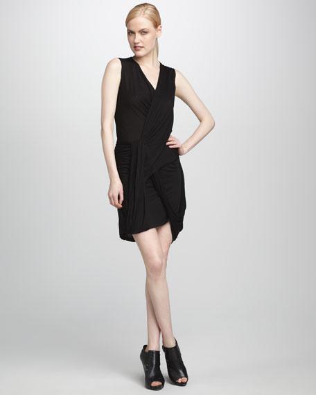 Wrap-Illusion Jersey Dress, Black