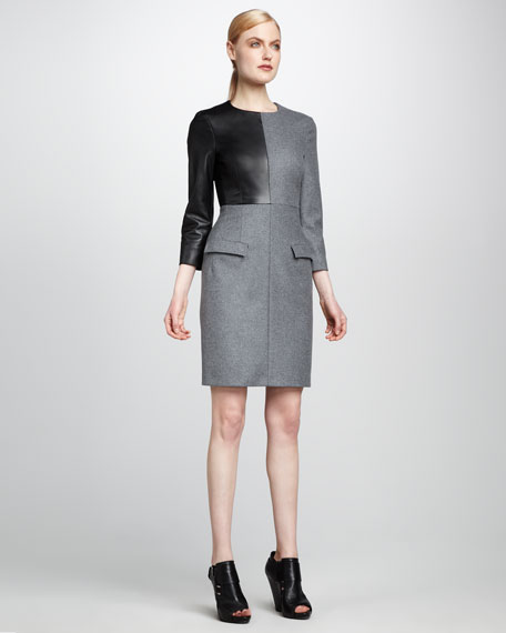 Leather-Inset Flannel Dress