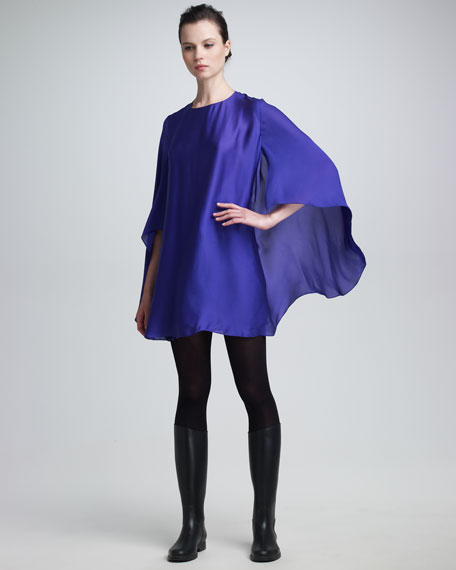 Silk Cape-Sleeve Dress