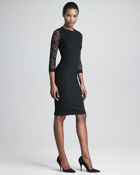 Jersey and Lace Dress with Three-Quarter Sleeves