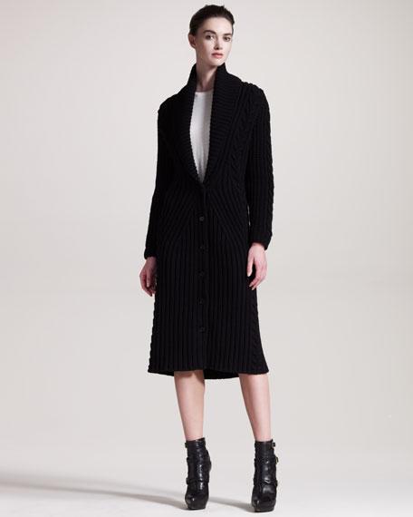 Long Ribbed Knit Cardigan