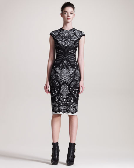 Printed Sheath Intarsia Dress
