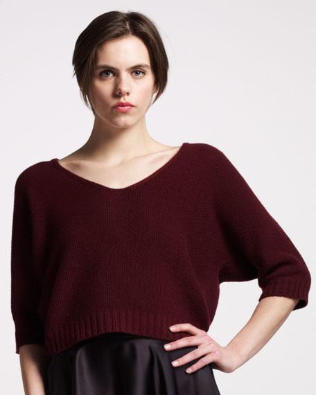 Pique-Cashmere Dolman Sweater