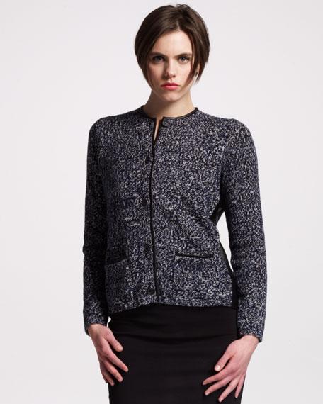 Leather-Trim Wool Cardigan