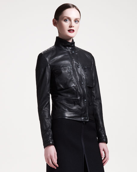 Chain-Trim Leather Jacket