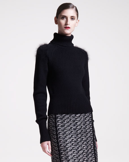 Angora-Shoulder Turtleneck