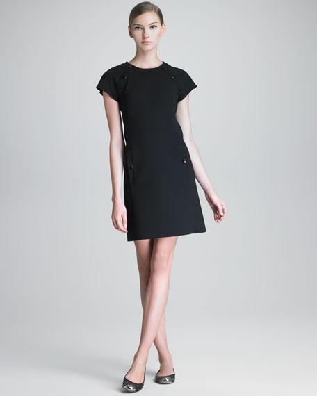 Snap-Detail Ponte Dress
