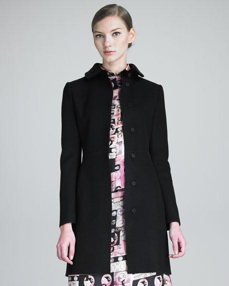 Snap-Front Velvet-Collar Coat