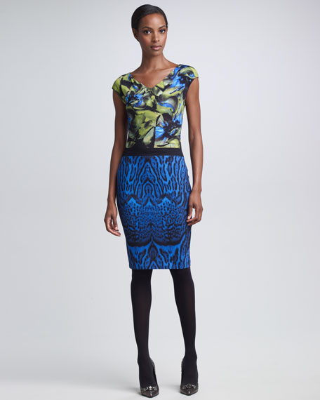 Mixed-Print Cap-Sleeve Dress