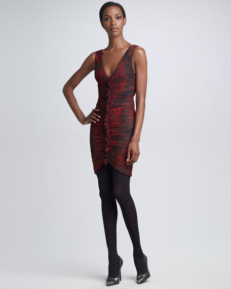 Ruched Python-Print Dress