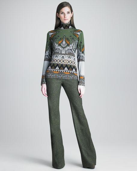 Tweed Boot-Cut Pants
