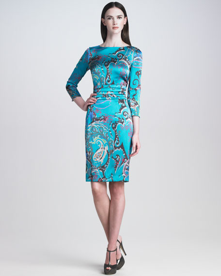 Printed Cummerbund-Waist Dress