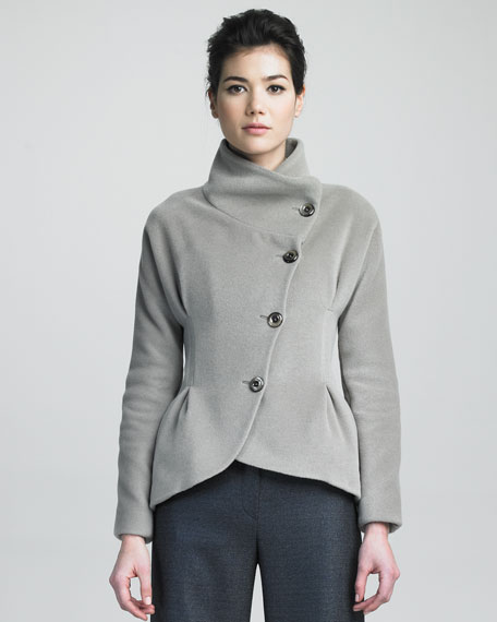 Asymmetric-Button Jacket