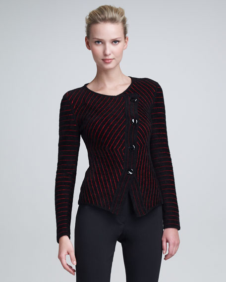 Asymmetric Striped Knit Jacket