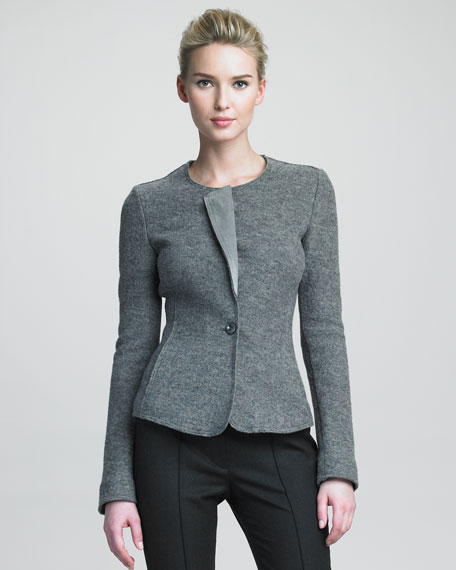 Suede-Collar Wool Jacket